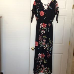 Black floral dress size Small
